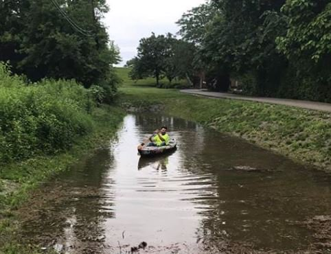 Caption This! Just another day... Canoeing down the Monon in Carmel. Thanks to Austin Leum for the photo. Share yours with us, too! #IndianaFlooding #FloodingCarmel #INWx #SoMuchRain #RainRainGoAway