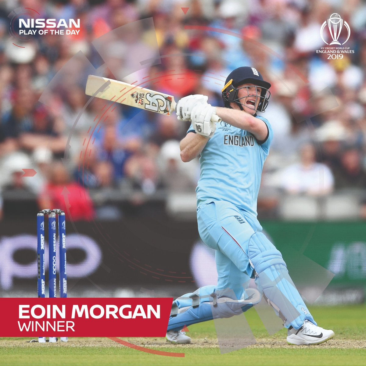 Eoin Morgan's six to bring up his century was voted the Nissan Play of the Day. Was this your favorite from his record breaking 17 sixes? #CWC19 #SweepTheNation