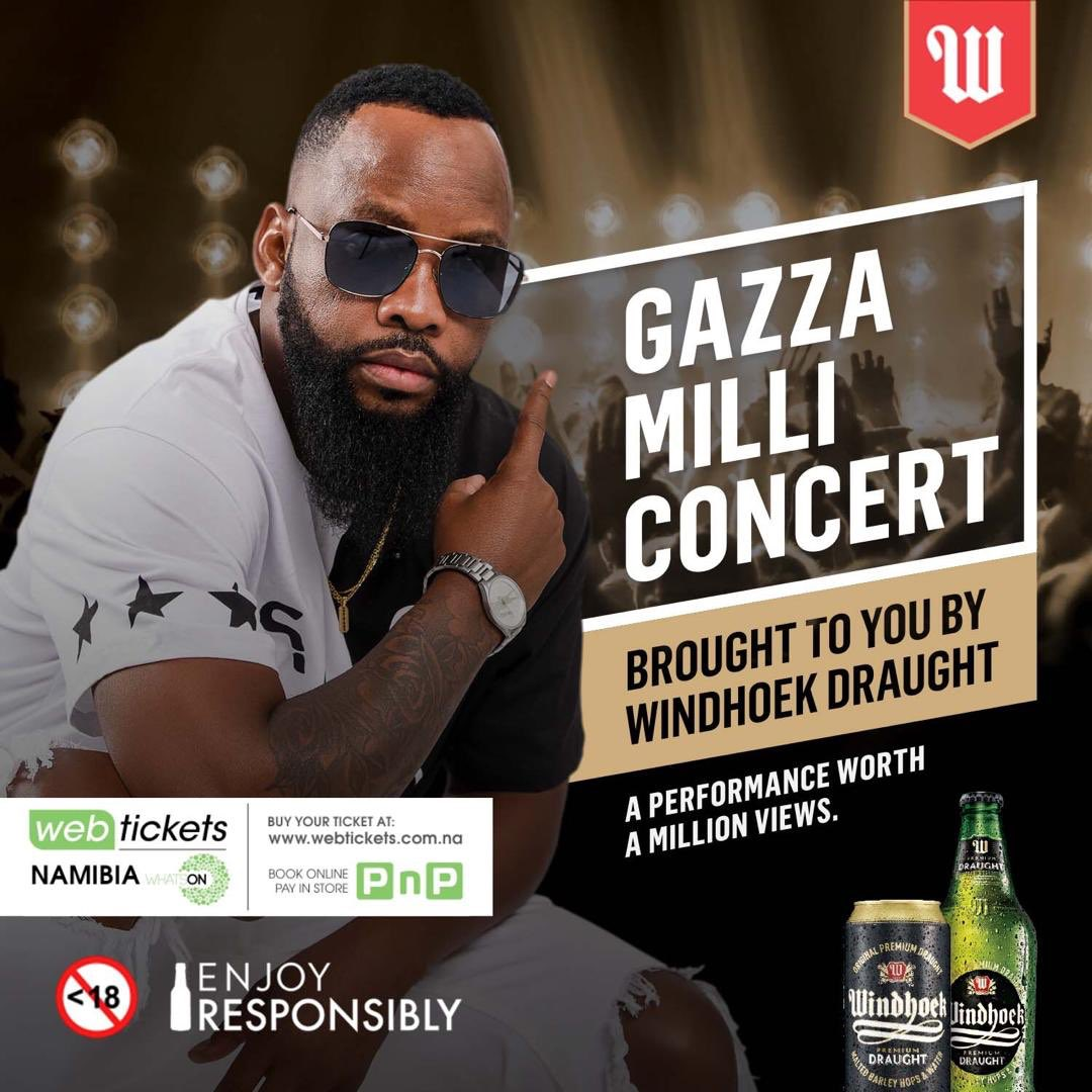 To celebrate the #GazzaMilliConcert Windhoek Draught and I have decided to do a quick giveaway! RT this Tweet to stand a chance to win a #GazzaMilliConcert hamper including a 24-Pack of Windhoek Draught! Good Luck!The winner will be announced Wed 26 June!