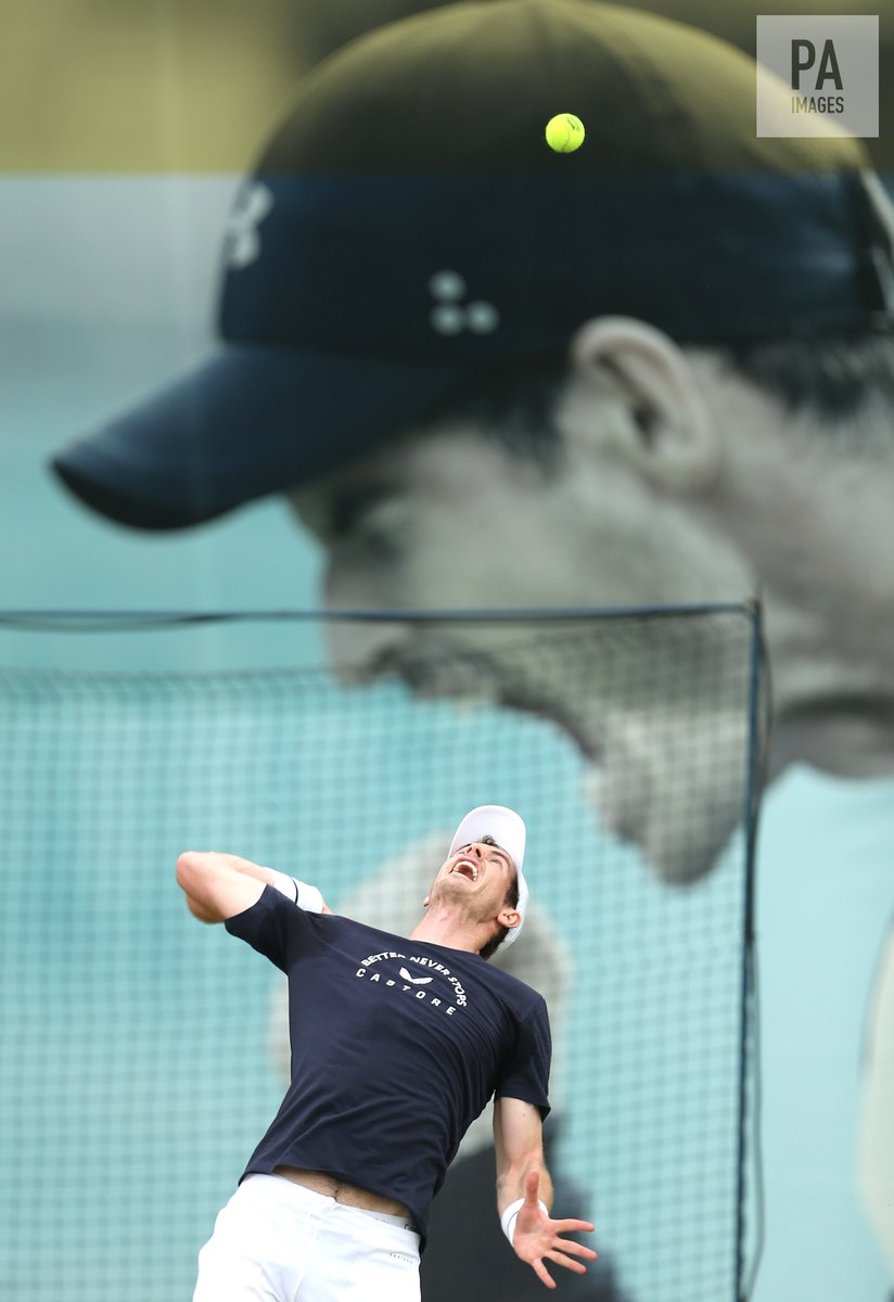 Andy Murray during a practice session ahead of his doubles match at the Fever-Tree Championship at Queen's Club!  : Steven Paston/PA Images - see more at  http:// paimages.co.uk/latest/sport      #queensclub #FeverTreeChampionships #andymurray<br>http://pic.twitter.com/isTGcodcSh