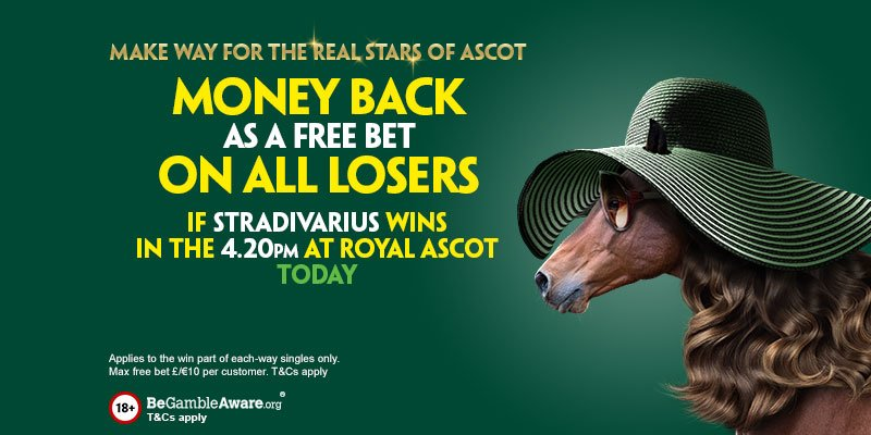 Money Back Special for Day 3 of Royal Ascot!  Money back (as a free bet) on all losers if Stradivarius wins the Gold Cup!  T&Cs here: http://pdy.pr/toHcwk