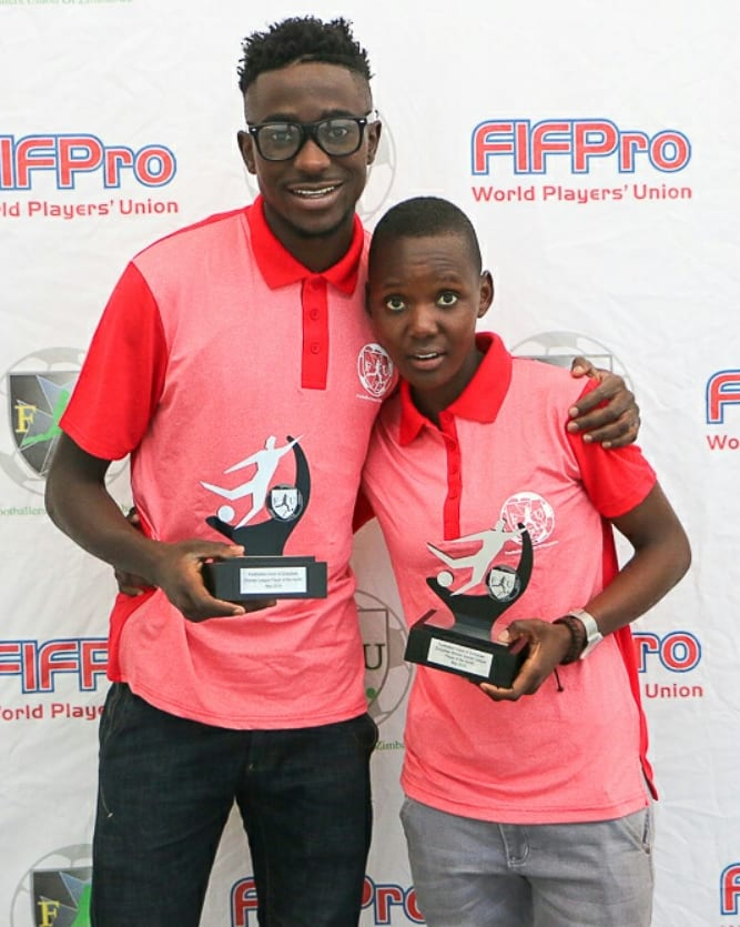 Meet our May Players of the month 2019   Christabel Katona Black Rhinos Queens Fc                    & Clive Augusto Chicken inn Fc  They walk away with a trophee, Gym kits and Prize money of USD 100 each.   Congratulations and thank you to all the players for voting for your own