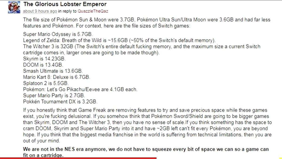 This is just sad. Witcher 3  (32 GB) can be ported to Switch but yet Game Freak are too lazy to even program all pokemon in Sword/Shield smh. #BringBackNationalDex