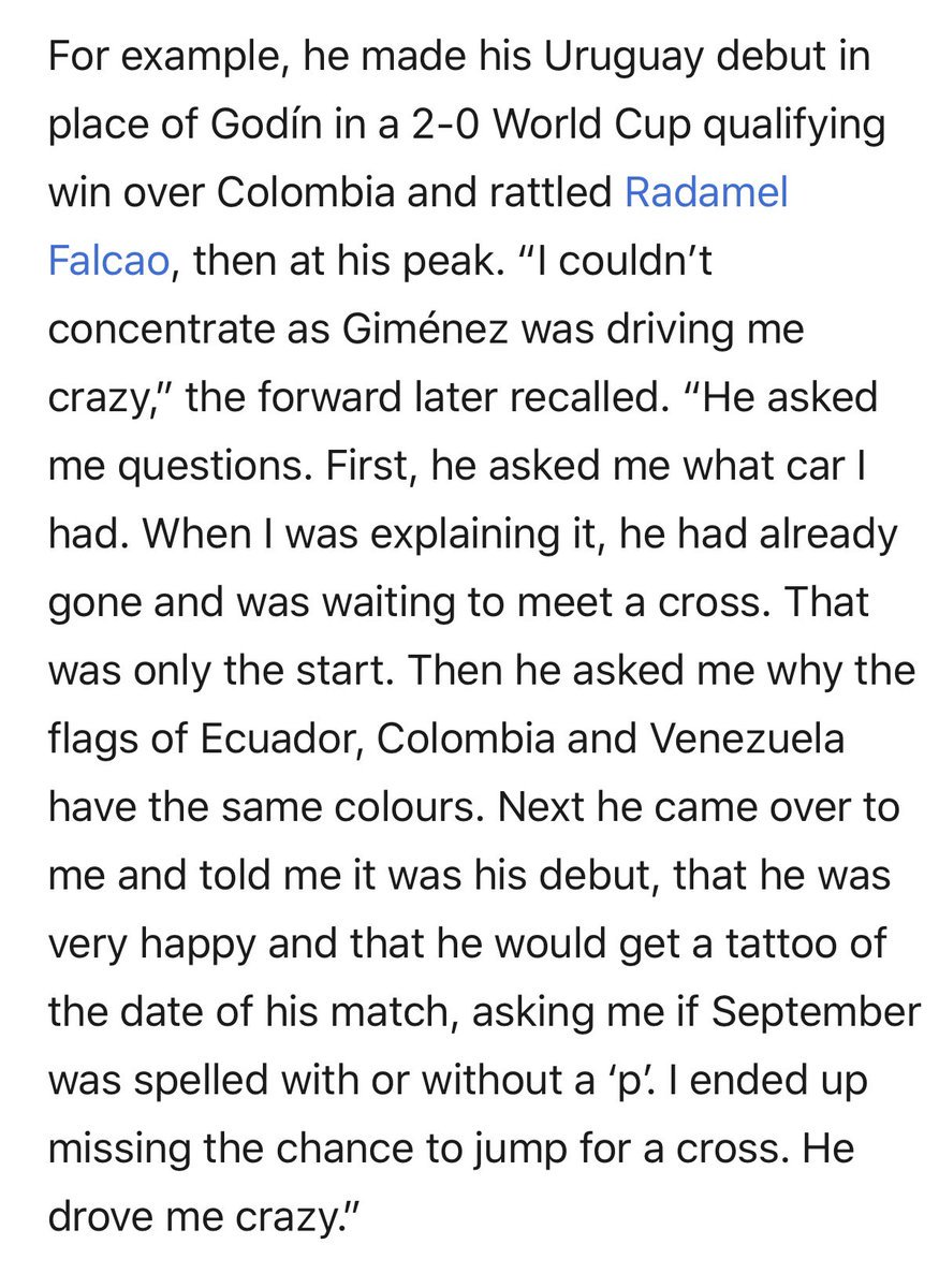 José Giménez's dedication to getting inside Radamel Falcao's head when making his international debut for Uruguay is the sort of pettiness we can all get behind.
