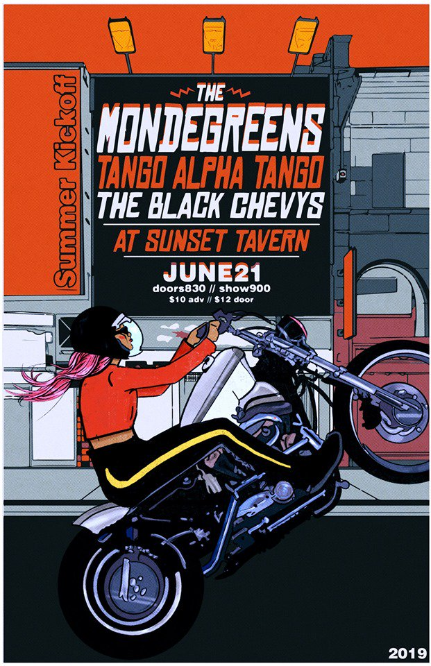 The Sunset on Twitter: Party with us on the longest day of the year {6.21}!  The Mondegreens team up with @tangoalphatango and @TheBlackChevys for a night to remember!  There are still a few tickets left: