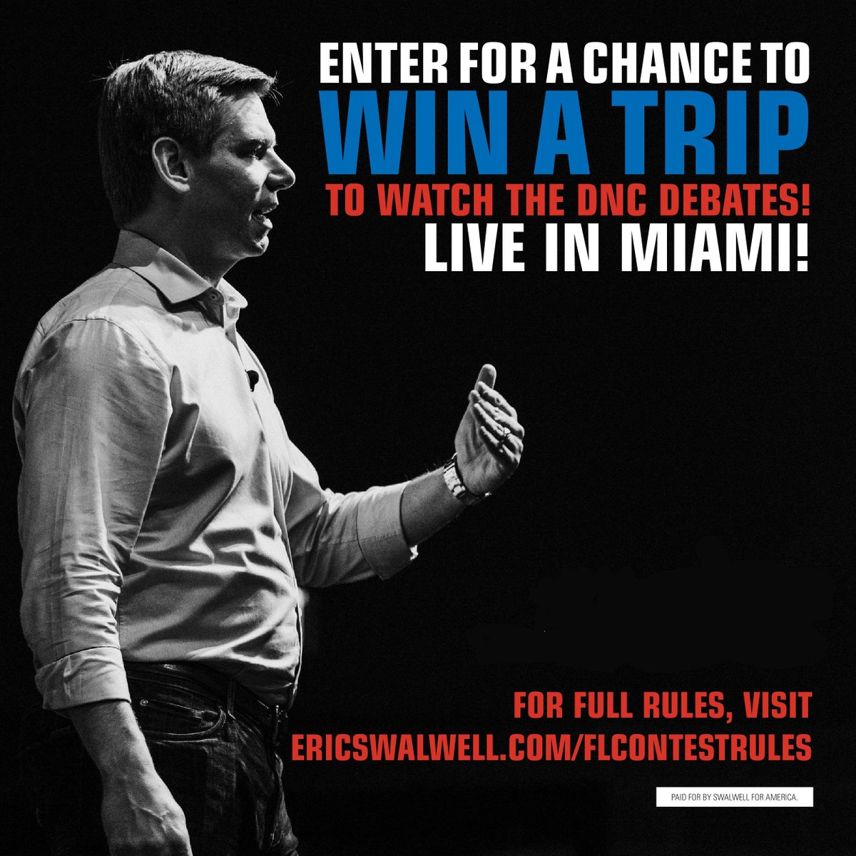 Enter by 12PM PT to win a trip to watch the debates in Miami!! Head over to http://ericswalwell.com/flcontestrules !