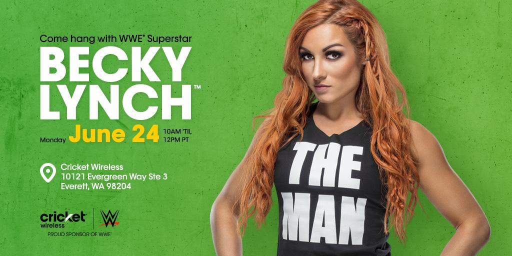 Hey @WWE fans – Come meet @WWE Superstar @BeckyLynchWWE at an Everett, WA Cricket store on 6/24. We hope to see you there! http://mycrick.it/WWEEvent_Everett …