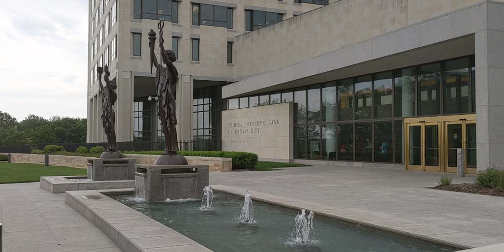 #DidYouKnow? The bronze statues in front of our building represent the Spirits of Commerce & Industry. The 3 water geysers represent our 3 mission areas: monetary policy, supervision and regulation, and financial services. Learn more about the #KCFed at http://bit.ly/2XeibHQ