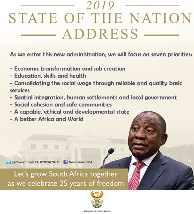 As we enter this new administration, we will focus on seven priorities #SONA2019