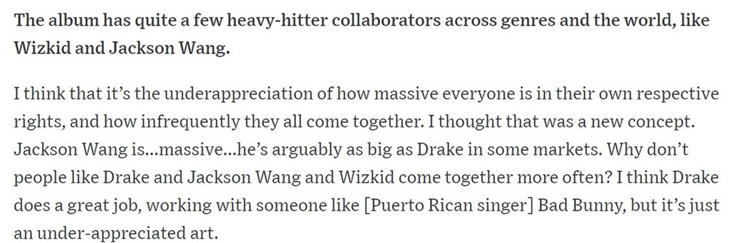 "[PRESS] 190619Goldlink talked about @JacksonWang852!""Jackson Wang is...massive...he's arguably as big as Drake in some markets."" Full article: https://www.wsj.com/articles/goldlink-rapper-dc-kendall-jenner-jackson-wang-11560895314… #JacksonWang #王嘉尔 #잭슨 #GOT7  @GOT7Official"