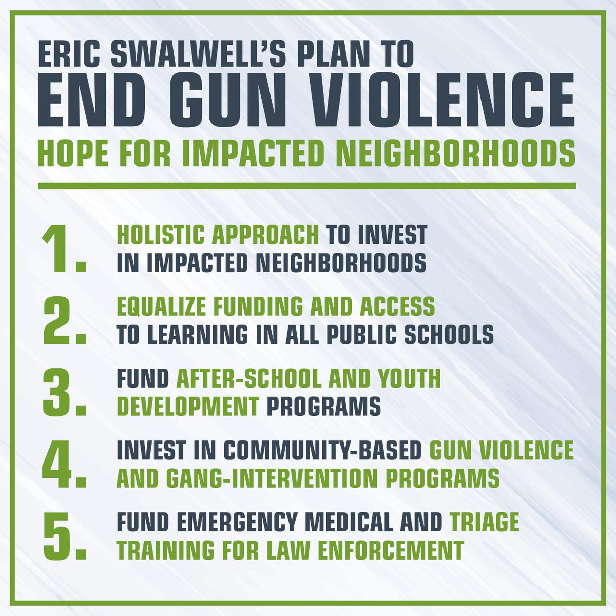 We will restore hope where hope has been lost.  For more on our comprehensive plan to end gun violence, go to http://ericswalwell.com/endgunviolence