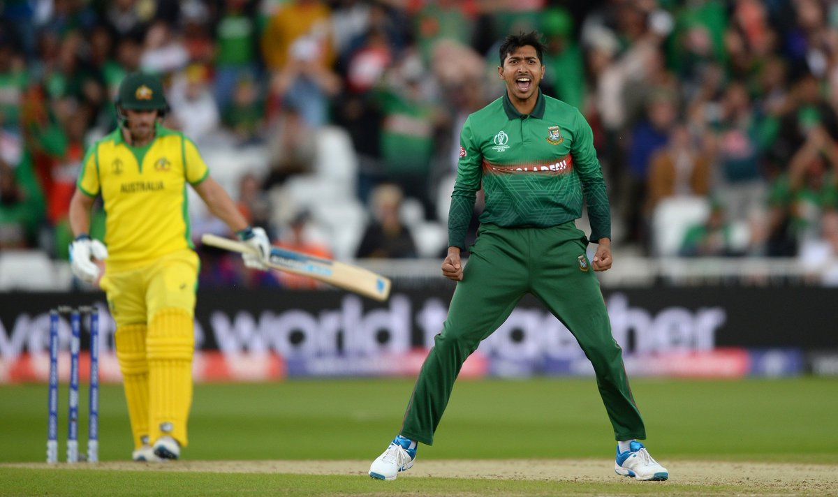 Soumya Sarkar was the pick of the @BCBTigers bowlers with three wickets to his name.Watch the Aussie batsmen fall here ⤵#RiseOfTheTigers | #CWC19