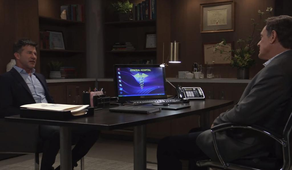Neil sits across a desk from Kevin in his office at General Hospital.