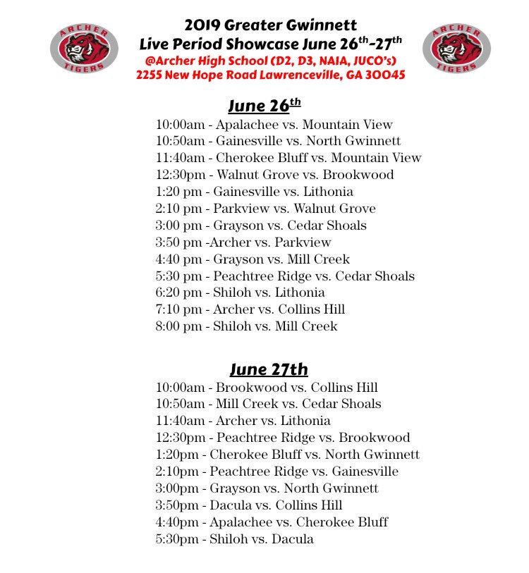@NCAAGeorgia live event starts tomorrow. @ArcherMBB is hosting a live period event June 26/27 for D2/NAIA/JUCO schools come heck out some of the elite talent Gwinnett has to offer @NAIAHoopsReport @VerbalCommitsD2 @KyleSandy355 @OntheRadarHoops