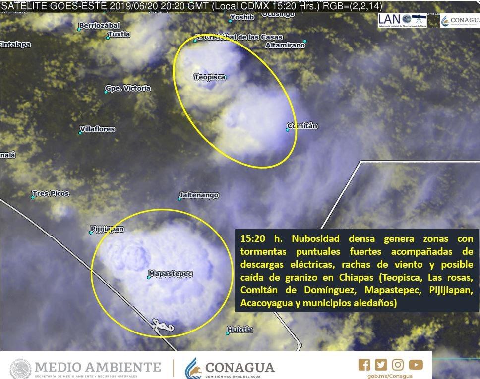 Núcleos de #Tormenta con probabilidad de caída de #Granizo en #Chiapas