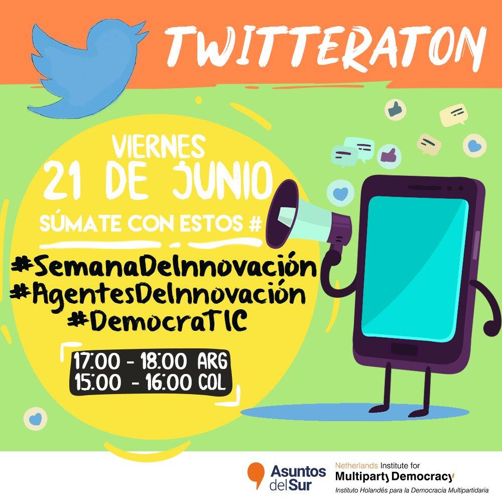 #SemanaDeInnovación⚡️| ¡Únete a la conversación! MAÑANA Viernes 21/06 tomaremos las #redessociales para hablar de #InnovaciónPolítica 🔥🔥 Súmate contando tu experiencia con los hashtags #SemanaDeInnovación #DemocraTIC #AgentesDeInnovación  @NimdColombia @AsuntosDelSur