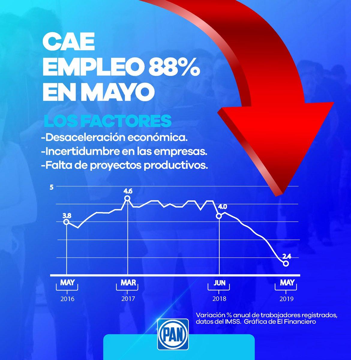 El empleo va en picada, mayo registró 88% menos ocupación en relación a 2018, debido a la desaceleración económica, incertidumbre y la falta de proyectos productivos por parte del @GobiernoMX. En el #PAN le exigimos a @lopezobrador_ una estrategia para recomponer el camino.