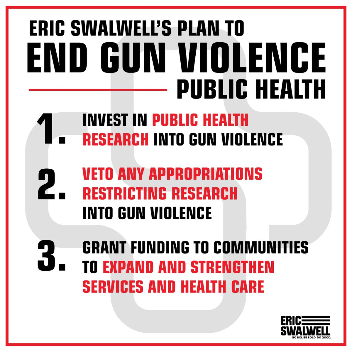Gun violence is a public health issue. We must invest in public health and research to stop this problem at its roots.  For more on our comprehensive plan to end gun violence, go to http://ericswalwell.com/endgunviolence