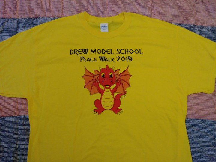 Take a look at this year's Peace Walk shirt !Families, join us for our final Peace Walk at Drew. Meet us at the archway wearing a yellow shirt (but don't let that stop you if you don't have one). We start walking at 9:30AM. Don't forget your sunscreen and water bottles! <a target='_blank' href='https://t.co/dOoH1nex5H'>https://t.co/dOoH1nex5H</a>