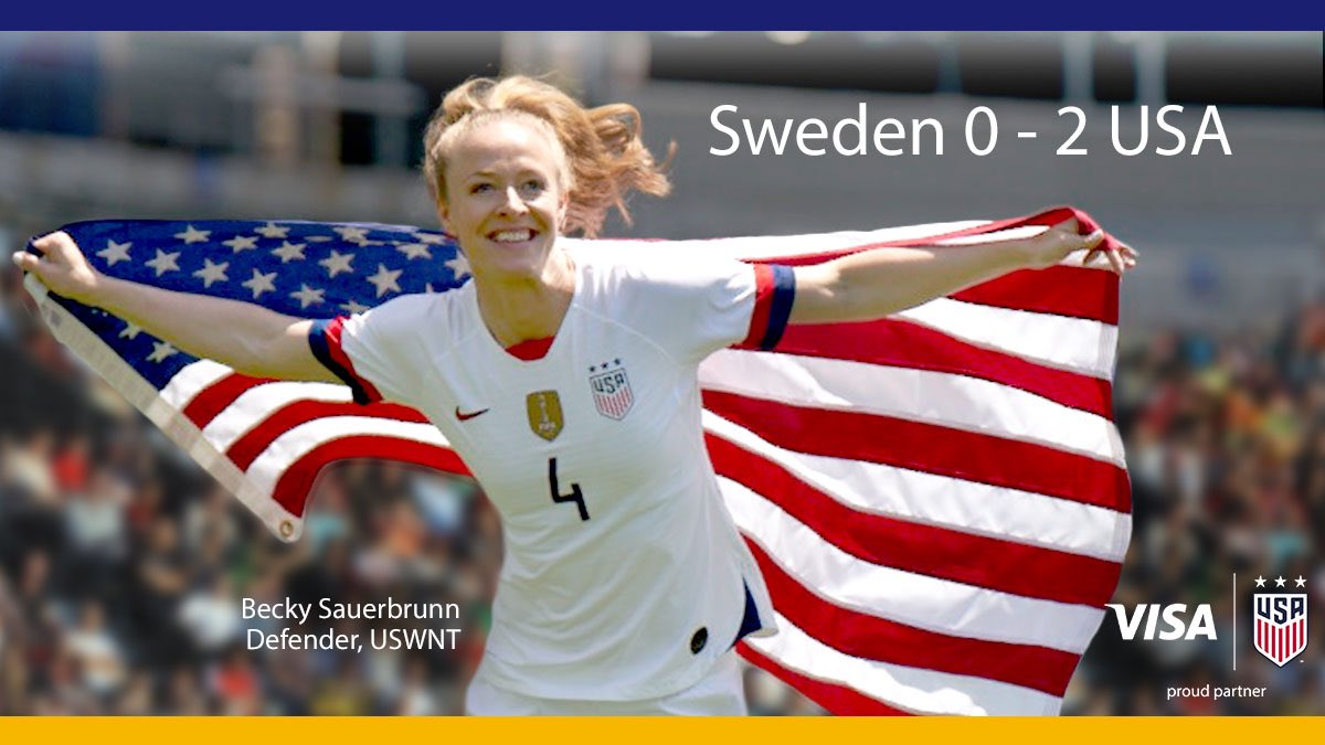 The U.S. Women's National Team closes out group play in winning style. Next stop: Knockout stage. Visa celebrates the @USWNT and women everywhere who chase their dreams.   Visa. Proud partner of the U.S. Women's National Team.