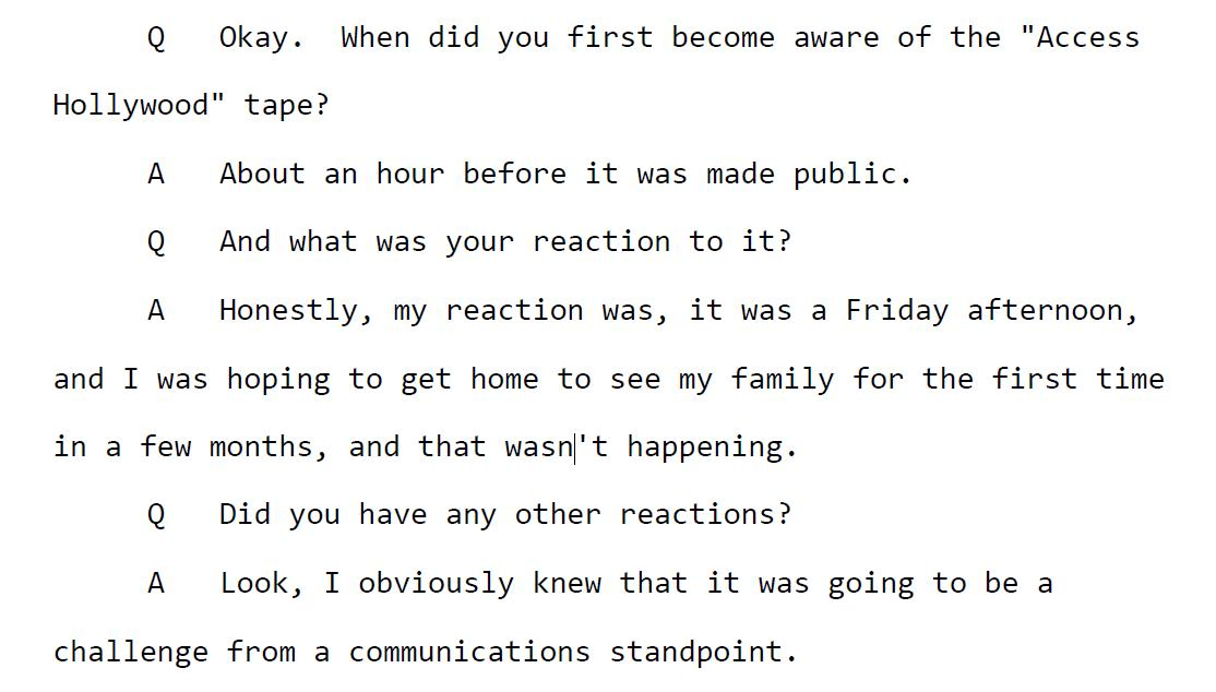 Hicks describes her reaction after she saw the Access Hollywood tape: