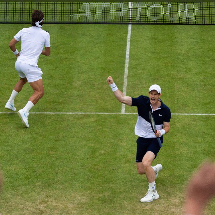 When you hit a worldy and go max power on the celebration but the points still going...... @andy_murray #tennis #FeverTreeChampionships <br>http://pic.twitter.com/95nAc8ssyX