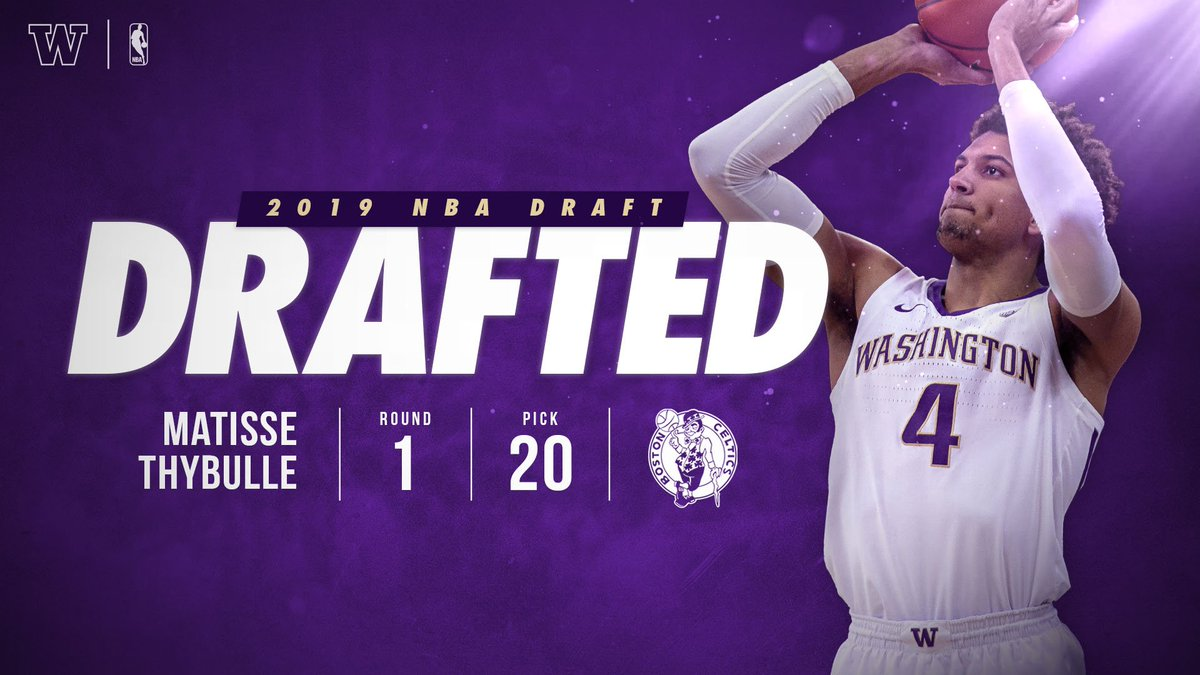 With the 20th pick in the 2019 #NBADraft, the @celtics select @MatisseThybulle, with a proposed trade to the @sixers.   #ProDawgs // #TougherTogether