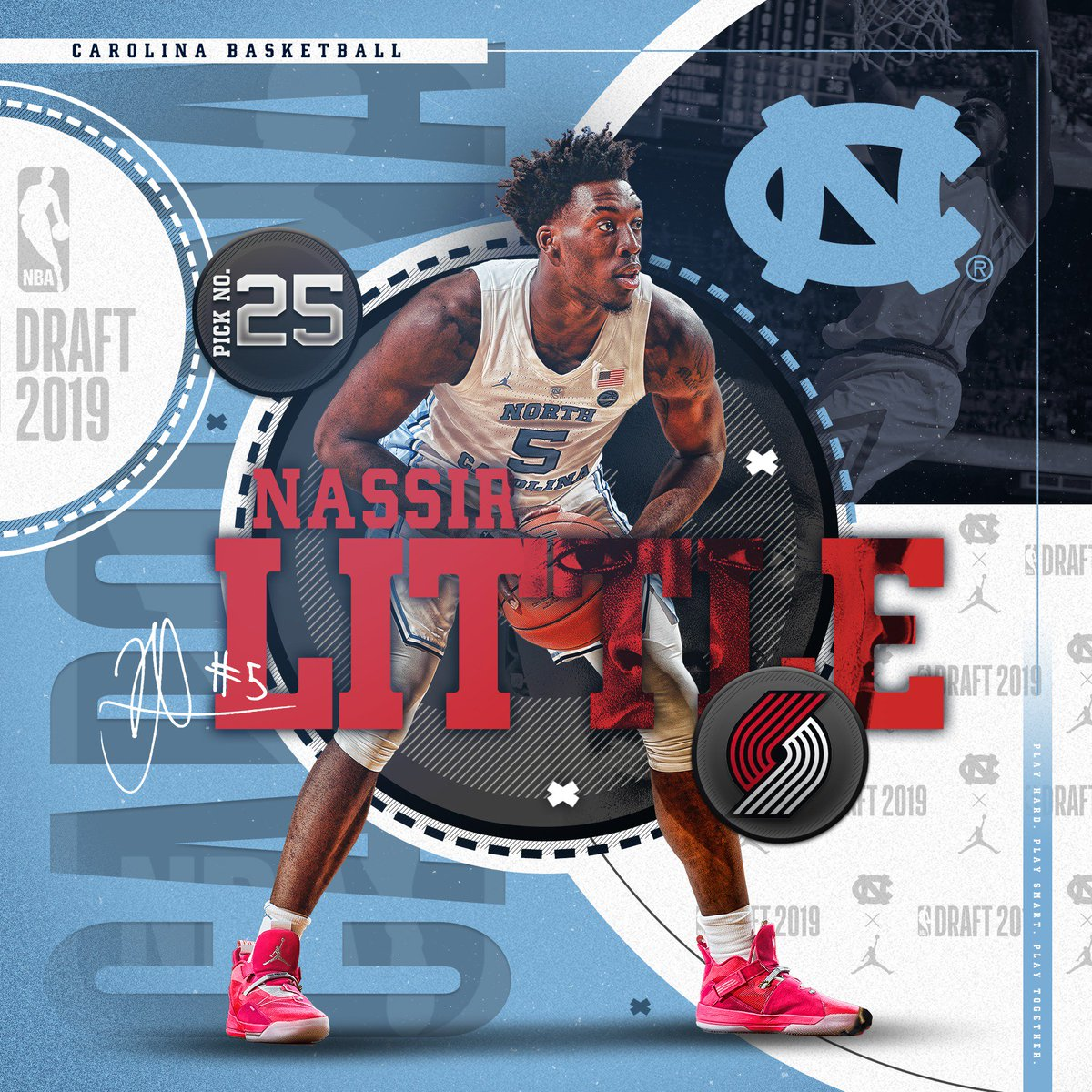 Let 'em Know!   With the 25th pick of the 2019 #NBADraft, the @trailblazers select UNC's Nassir Little.  #CarolinaSZN | #NBADraft | @2ez_nassie