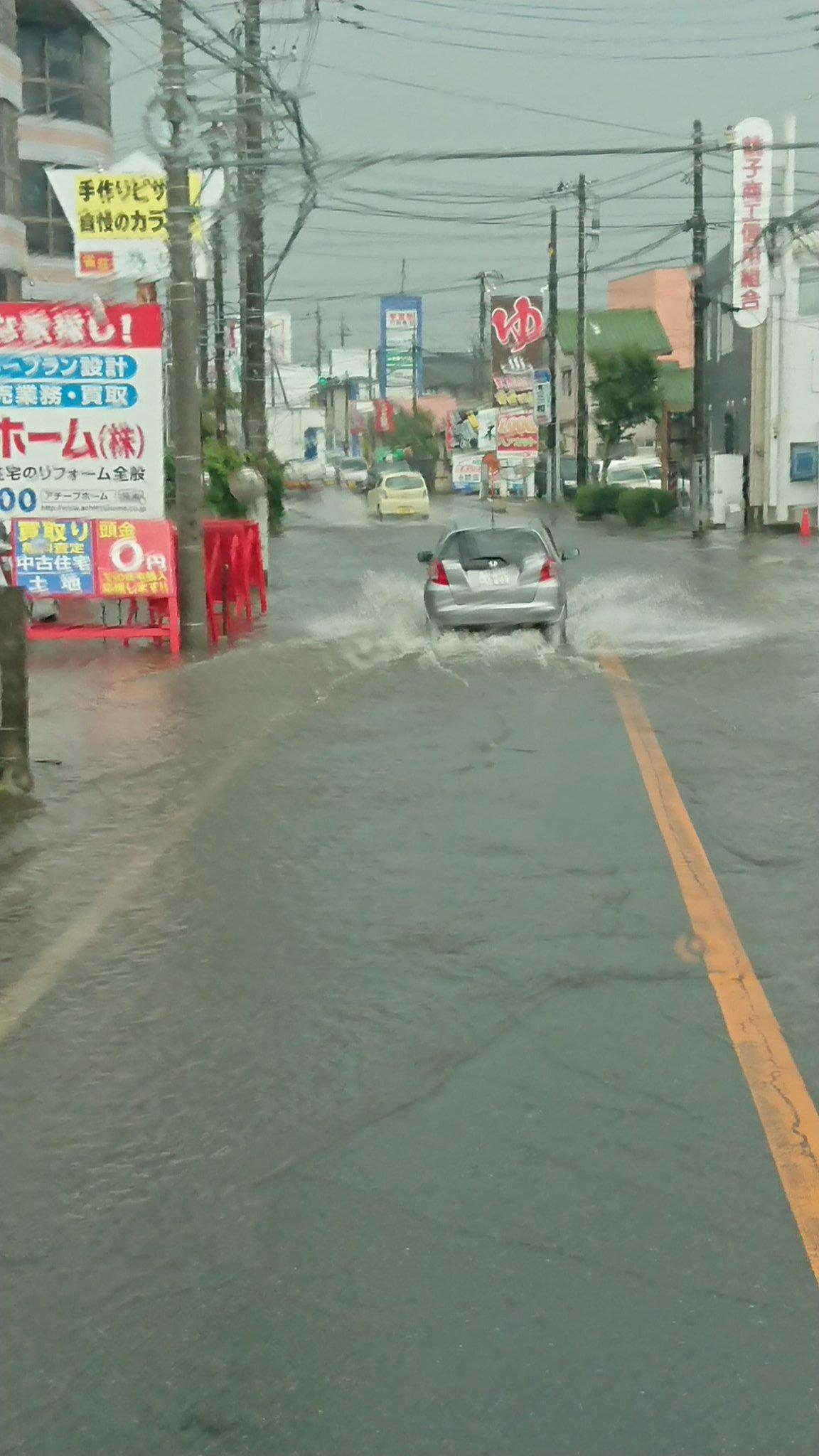 富里市七栄・八街市・成田市がゲリラ豪雨で冠水 一部道路が通行止め