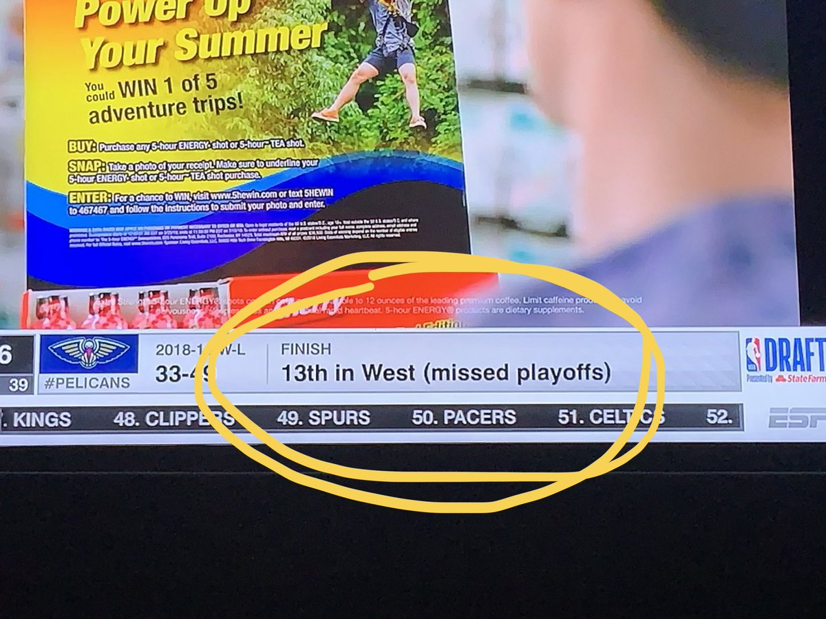 I appreciate ESPNs attempt to remind everyone that the 13th best team in a conference doesn't make the playoffs. #NBADraft