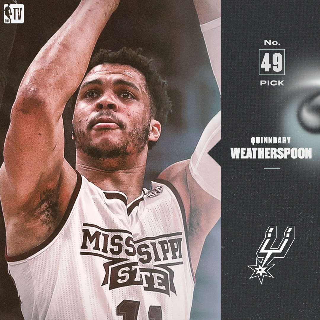 The @spurs select Quinndary Weatherspoon with the No. 49 pick in the 2019 #NBADraft!
