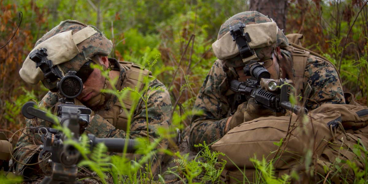 Watch Dogs Marines from @2dMarDiv, provide security while conducting a rehearsal drill during Exercise Steel Pike 19 at Camp Lejeune, North Carolina.