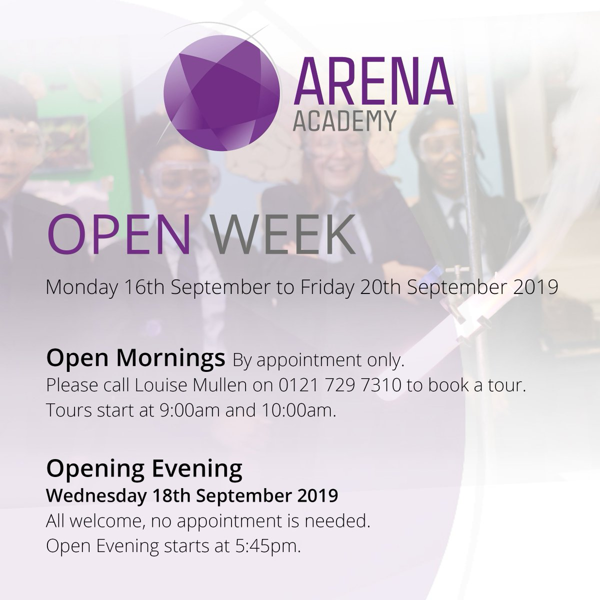We look forward to welcoming prospective parents and students to Arena Academy next week. There is still time to book Morning Tours next week. All welcome! Thank you