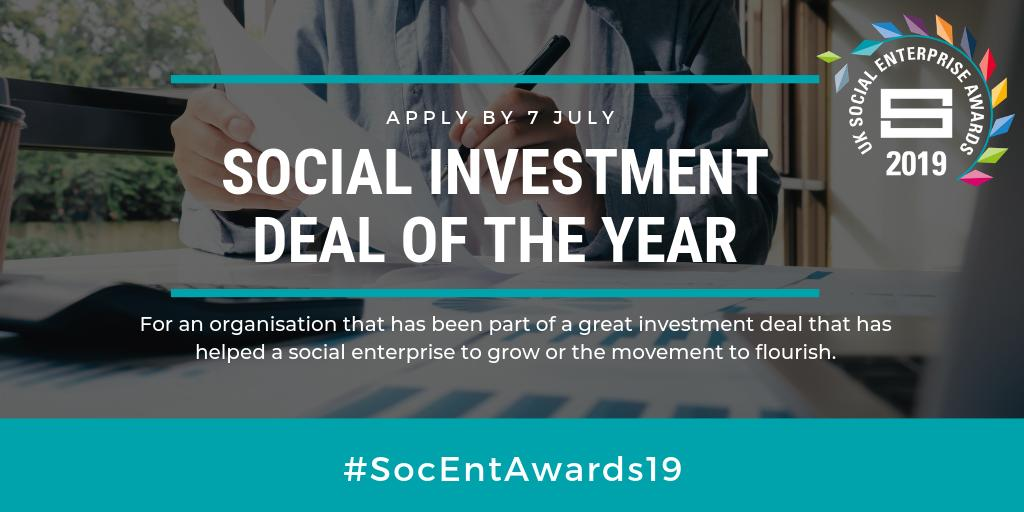 Have you used social investment to help increase your social impact? @SocialEnt_UK are back with #SocEntAwards19 and are looking for the #SocInv deal of the year. Could this be you? Apply here: http://ow.ly/oxOi50urHRA   Don't miss out - you've got to be in it to win it!