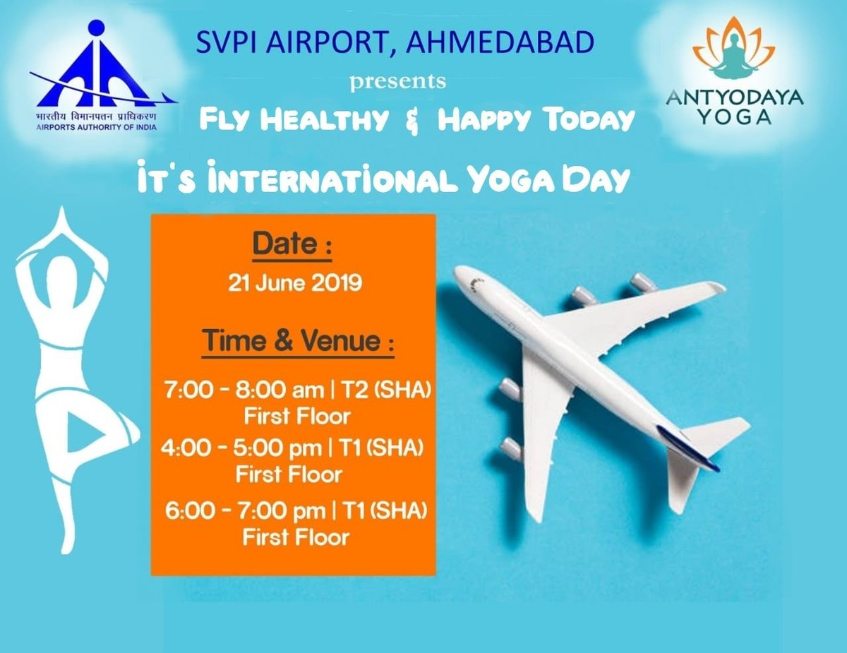 Celebration of #International #YogaDay2019 at #AhmedabadAirport organised by #AAI spreading health and happiness amongst Passengers from all major cities in India, besides, Passengers from many countries.#IDY2019 @AAI_Official