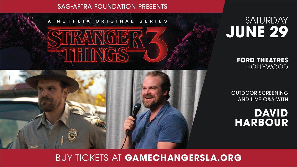 Hey #StrangerThings fans! Join us for a sneak preview of #StrangerThings3 on Saturday, June 29 @FordTheatres in LA! #DavidHarbour will join us for a live Q&A! Proceeds go to @sagaftraFOUND.   See it a week before it streams on @netflix!   Buy tickets now: https://t.co/tEzjrduswJ https://t.co/gKuYdjjUZN