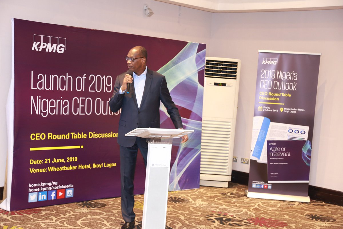 """Resilient CEOs need to be agile, adaptive and willing to challenge the status quo"" - National Senior Partner, @KPMG_NG and Chairman, @KPMGAfrica, @KunleElebute sharing key findings from the #2019KPMGNigeriaCEOOutlookSurvey at the #KPMGNigeriaCEOOutlook #KPMG #KPMGAfrica https://t.co/YQKY6eeLuN"