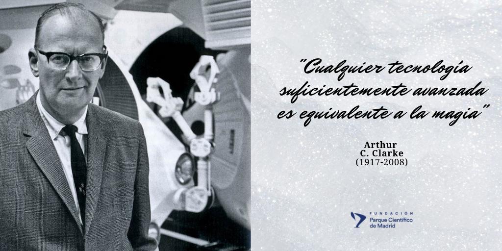 """Despedimos la semana con el #matemático y #físico #ArthurCClarke, autor de 2001:Una odisea en el #espacio🐵, #inventor, #ingeniero, #divulgadorcientífico y escritor de #cienciaficción 💫Un verdadero """"mago"""", ¿verdad? #ciencia #tecnología #innovación #IncúbateFPCM #SonPCM"""