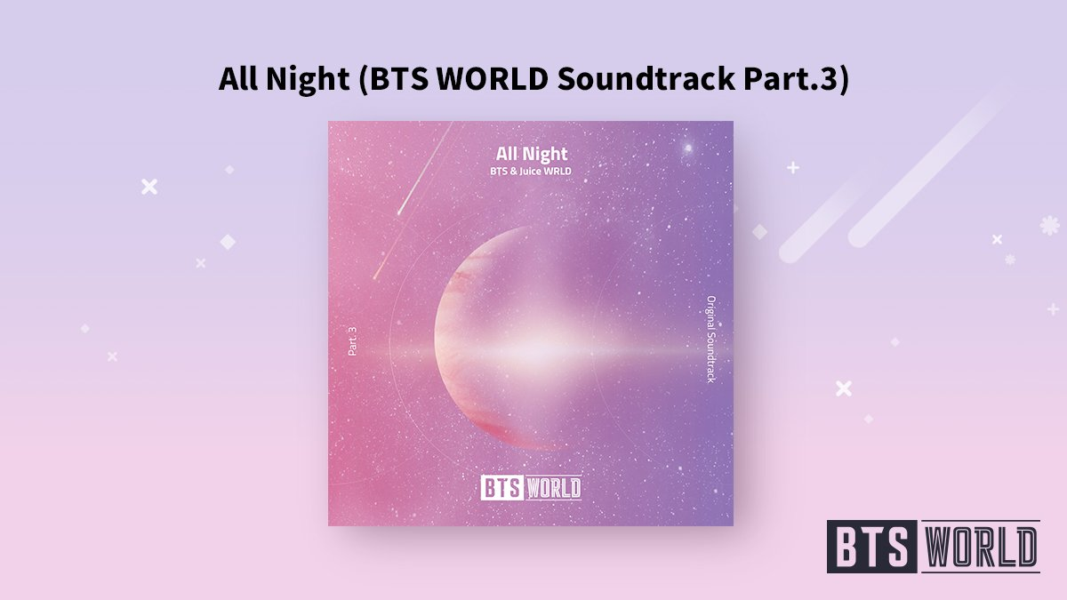 [#BTSWORLD_OST] Hey, Manager! BTS WORLD Soundtrack Part.3 is out now! All Night (BTS WORLD Soundtrack Part.3) by BTS & Juice WRLD Check it out now! ▶btsw.netmarble.com/ost #방탄소년단 #BTS #Juice_WRLD #All_Night #BTSWORLD #BTS월드