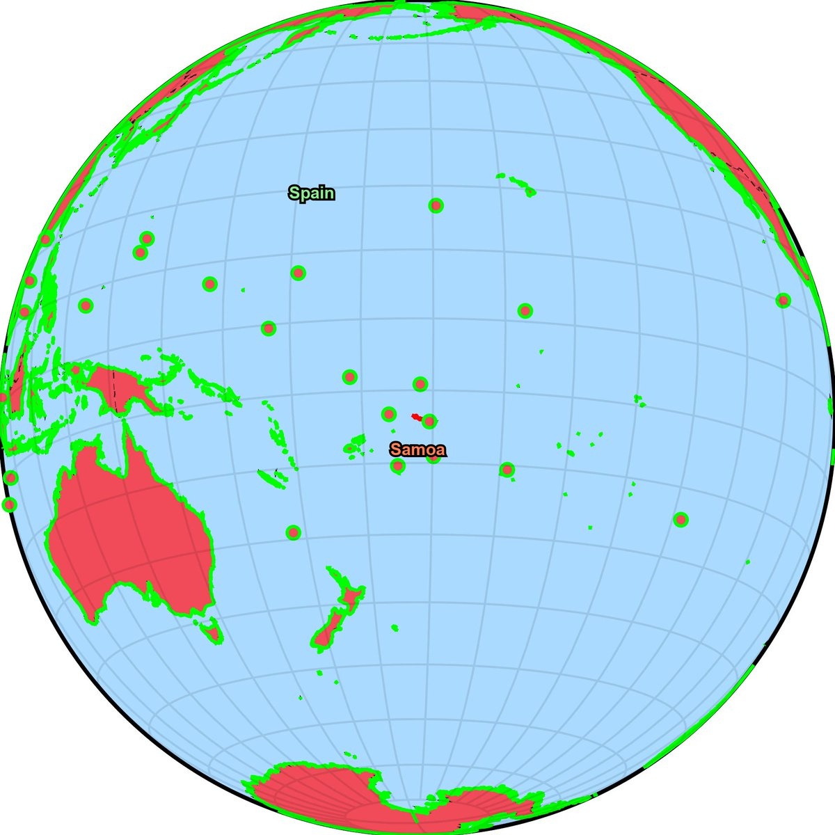 July 2141, Spain conquered Samoa territory previously occupied by Pitcairn Islands. Pitcairn Islands has been completely defeated. Spain has conquered the world. #Spain #PitcairnIslands