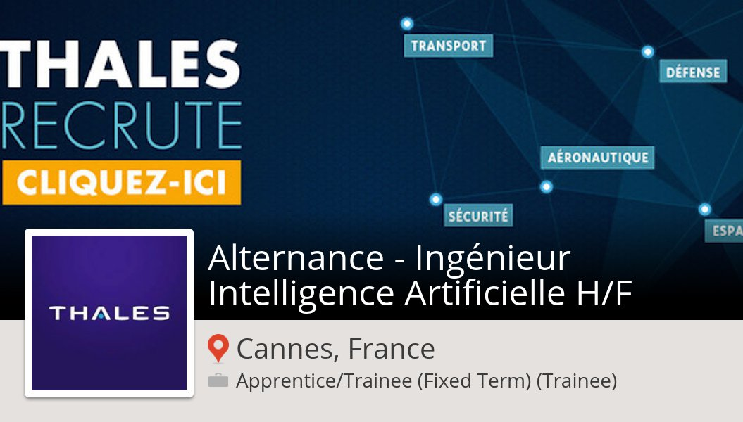 Are you an Alternance - Ingénieur Intelligence Artificielle H/F in #CannesFrance? Thales France is waiting for you! #job https://workfor.us/thalesfrance/6l25 …