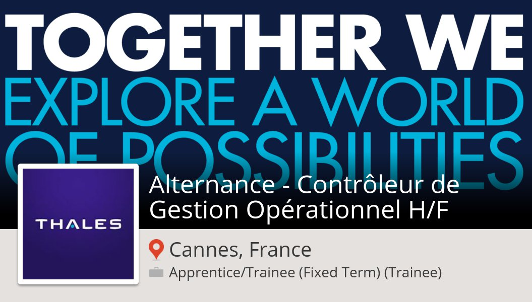 Check out this #job: Alternance - #Contrôleur de #Gestion Opérationnel H/F at #Thales (#CannesFrance) https://workfor.us/thales/5nn1a