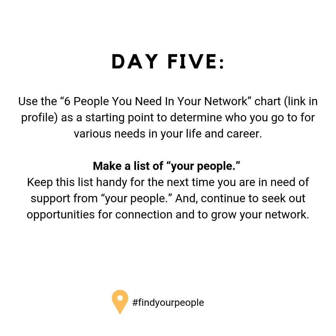 It's the last day in our #findyourpeople challenge! Hop over to https://t.co/zuHlFhk1Dt and discover the 6 People You Need in Your Network. And join us again on July 15 for our #findyourbalance challenge!