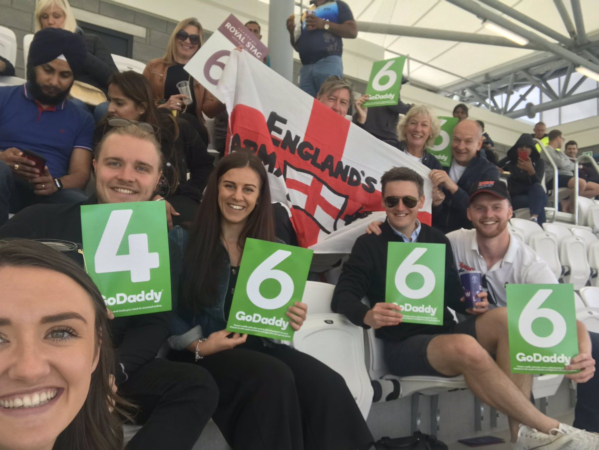 A great day so far at the cricket at headingley stadium with @TheBarmyArmy! Waiting to show our 6's and 4's for @englandcricket Thank you @GoDaddyUK! #WeAreEngland #cwc19 #cwc2019