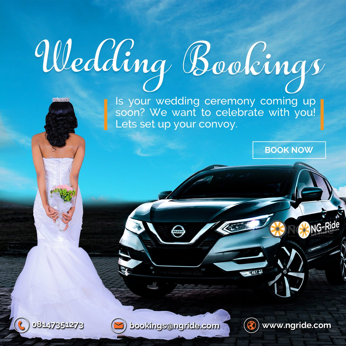 At NG-Ride we put in our all to see you have a blissful wedding.  Book a ride with us and we will guarantee you a comfortable ride. Email or call us now  bookings@ngride.com, 08147351273. #thankgoditsfriday #weekends #weddingparty #saturdayareforweddings #drivers #naijawedding