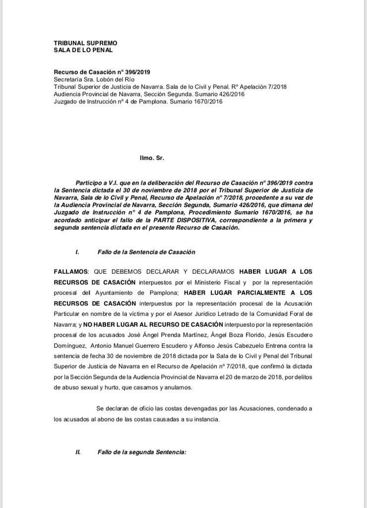 El #TS considera los hechos ocurridos en Pamplona el 6 de julio de 2016 constitutivos de un delito continuado de violación e impone una pena de 15 años de prisión a los cincos acusados
