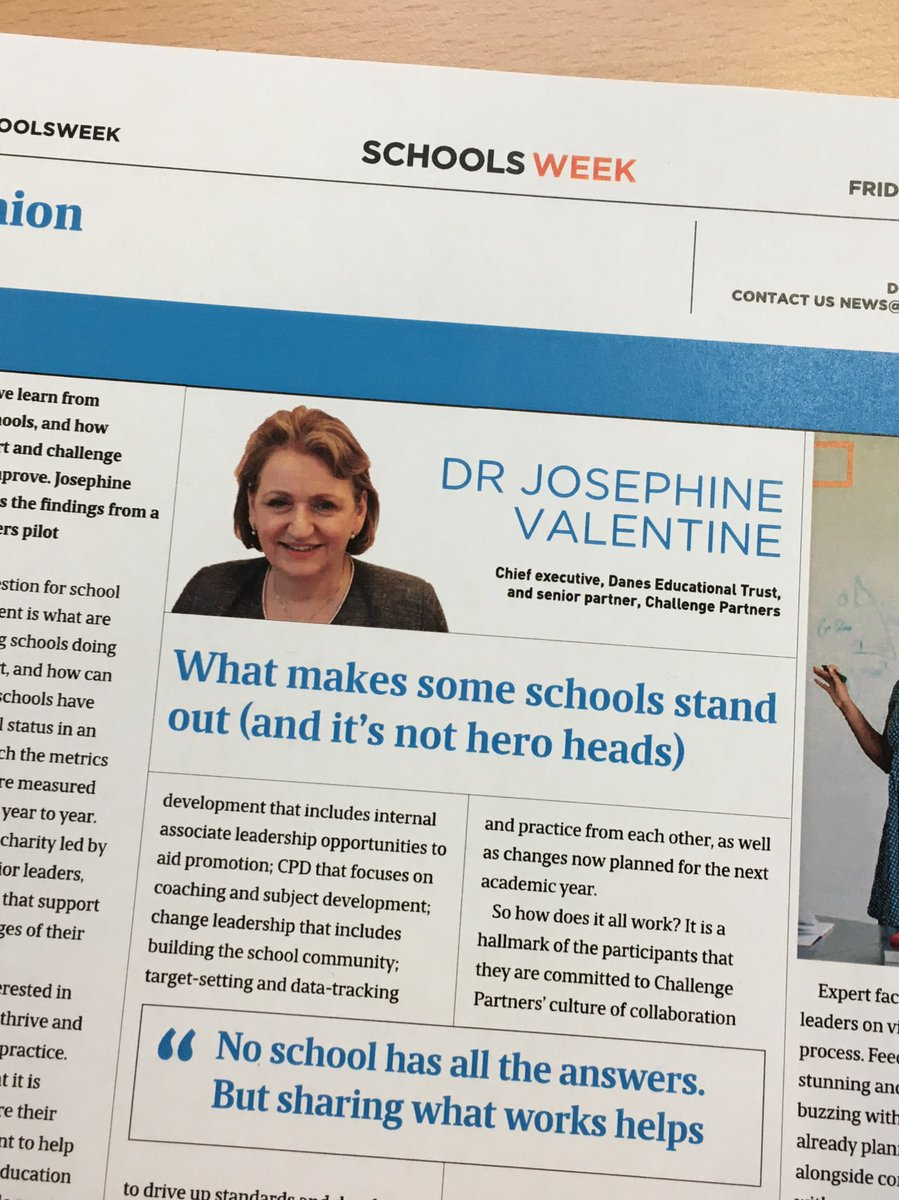 What makes some schools stand out? Thought-provoking article in @SchoolsWeek today by our CEO Dr Josephine Valentine, referencing @ChallengePartnr and its 'Growing the Top' pilot. https://t.co/Jerh36O2pA