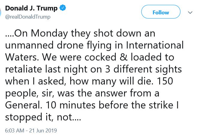 Image result for trump tweet june 21 2019