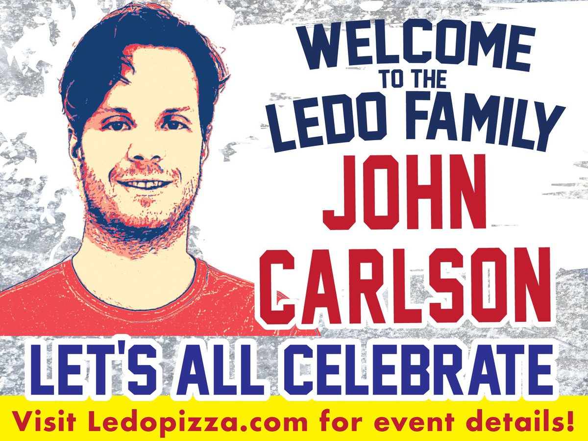 Breaking News: John Carlson signs with the #LedoPizza Team!   Let's all Celebrate on July 6th with a HUGE DEAL!   Click link for details!    https:// ledopizza.com/john-carlson-d ay/   … <br>http://pic.twitter.com/Qx3l6AbTou
