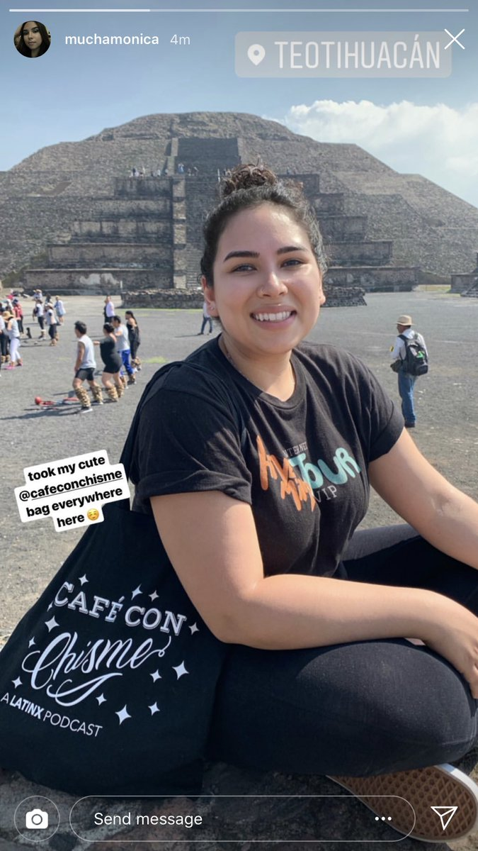 spotted in Teotihuacán: a beautiful listener with a CCC tote! 😱🥰🤩 our listeners truly are the greatest!! 💜☕️✨